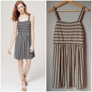 LOFT Striped Strappy Cotton Dress S Grey White